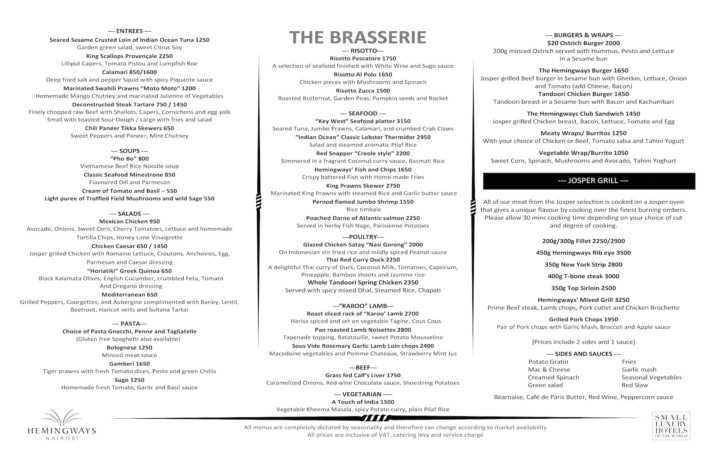 Hemingways Nairobi Brasserie new menu