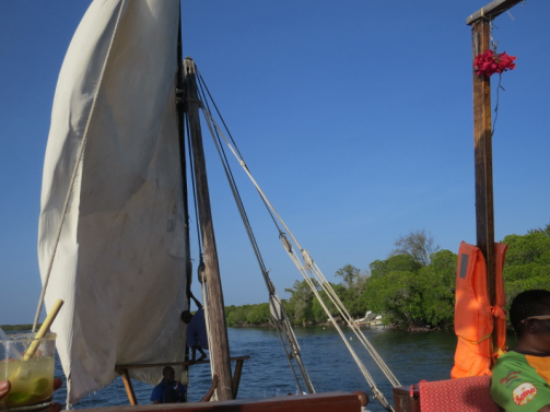 On the dhow sailing in Mida Creek